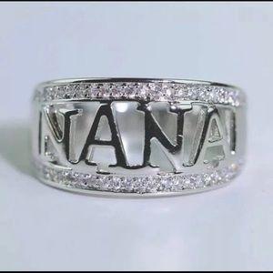 Silver Tone Nana Zircon Rhinestone Band Ring